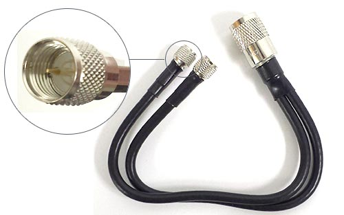 Dual Mini-UHF (M) to PL-259 (M) 1ft Coax Adapter Cable