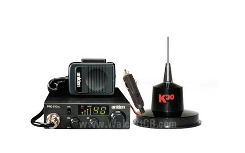 Complete CB system Uniden Pro510 radio and K30 antenna
