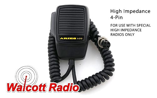 High Impedance 4-Pin Stock Mic - For HI-Z Radios Only A-519