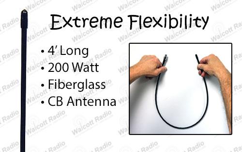 Extremely Flexible 4' Fiberglass CB Radio Antenna ASF4B