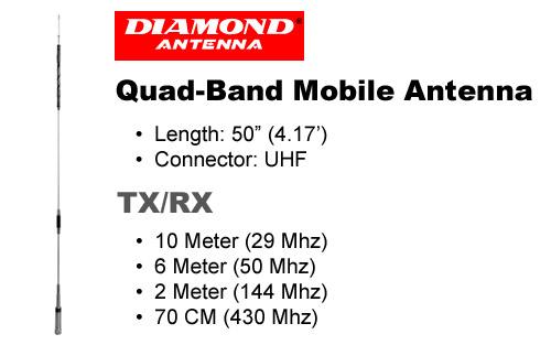 Diamond CR8900A Quad Band FM Mobile Antenna