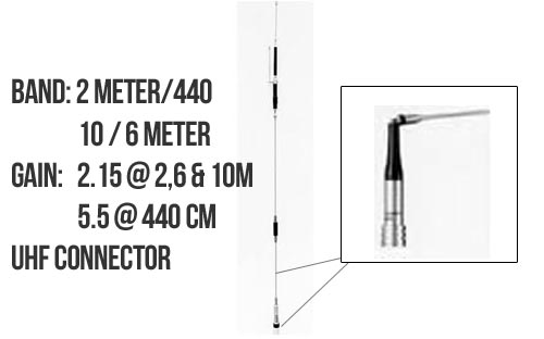 Diamond Antenna HV7A 2m, 6m, 10m, 70cm Meter Mobile Antenna