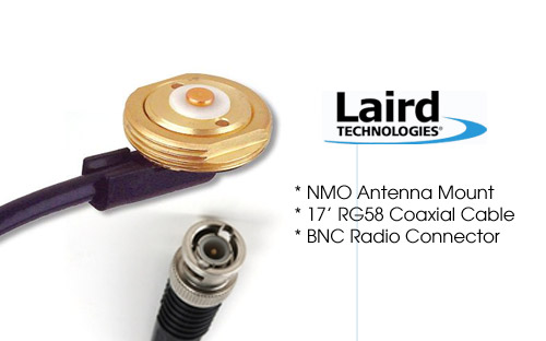 Laird Tech MB8BI NMO Antenna mount with 17ft RG58 Coax - BNC
