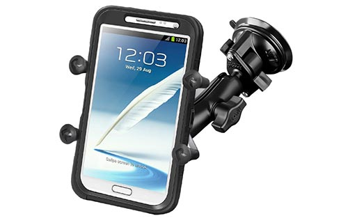 RAM-MOUNT RAM-B-166-UN10U Twist Lock Suction Cup Mount with Universal X-Grip IV Large Phone/Phablet