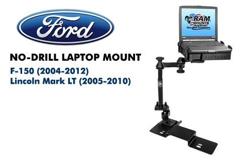 RAMVB109ASW1 No-Drill Laptop Mount for Ford F-150 04-13 Lincoln