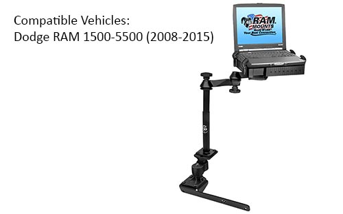 RAM RAM-VB-178A-SW1 No-Drill Laptop Mount with Adjust-A-Pole for the Dodge RAM 1500-5500 2008-2018
