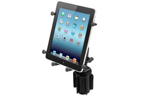 RAM-A-CAN II Cup Holder Mount with X-Grip III Holder for Large Tablets
