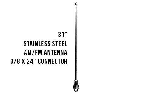 SSFM - 31 inch Stainless Steel AM/FM Antenna