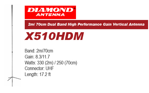 Diamond X510HDM Dual Band High Performance Gain Vertical Antenna