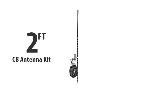 Two Foot CB Antenna Kit - Black - With Coax and Mount