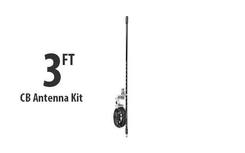 Three Foot CB Antenna Kit - Black - With Coax and Mount