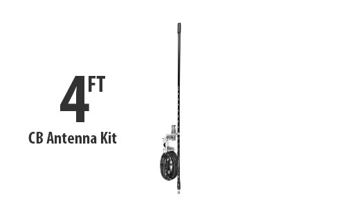 Four Foot CB Antenna Kit - Black - With Coax and Mount
