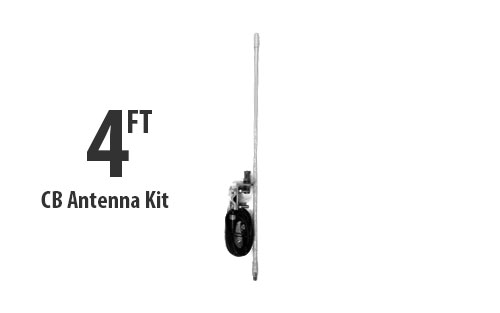 Four Foot CB Antenna Kit - White - With Coax and Mount