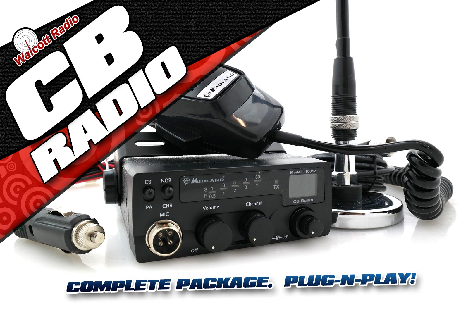 Complete CB Radio Bundled Package including Antenna