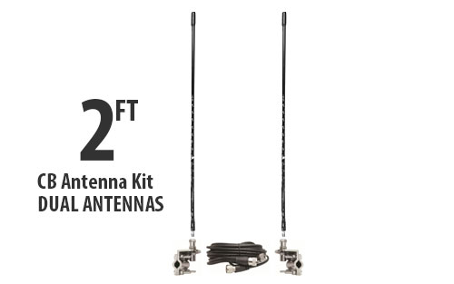 Two Foot CB Antenna Kit - Black - With Coax and Mount - DUAL ANTENNA KIT