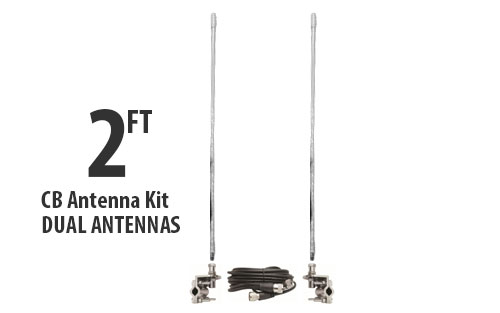Two Foot CB Antenna Kit - White - With Coax and Mount - DUAL ANTENNA KIT