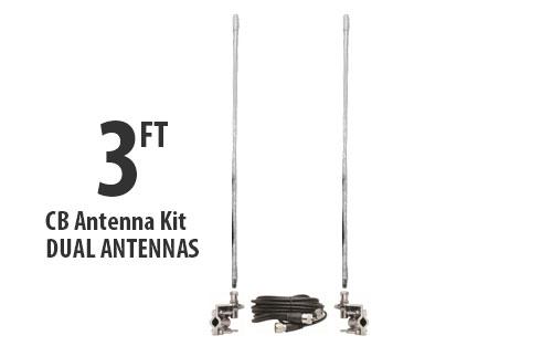 Three Foot CB Antenna Kit - White - With Coax and Mount - DUAL ANTENNA KIT