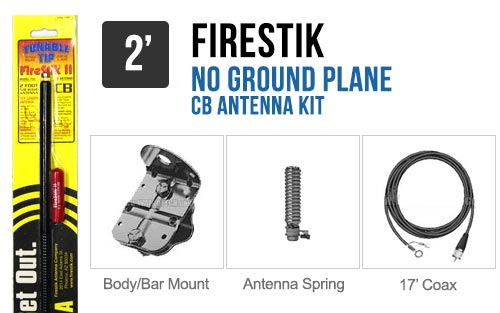 Firestik FG2648B 2' No Ground Plane CB Antenna Kit - BLACK