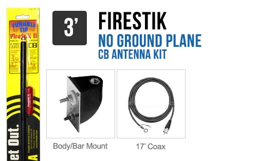 Firestik LG3M2B Black 3' No Ground Plane CB Antenna Kit