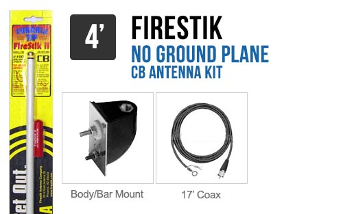 Firestik LG4M2W 4' No Ground Plane CB Antenna Kit - WHITE