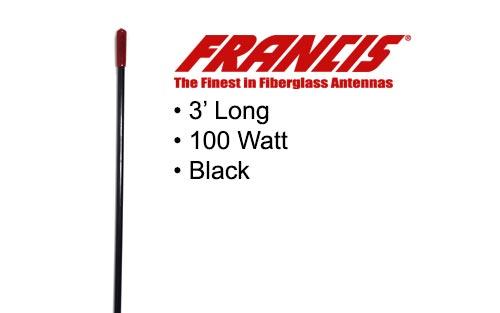 Francis Fiberglass CB Antenna 3 Foot CB22 Black