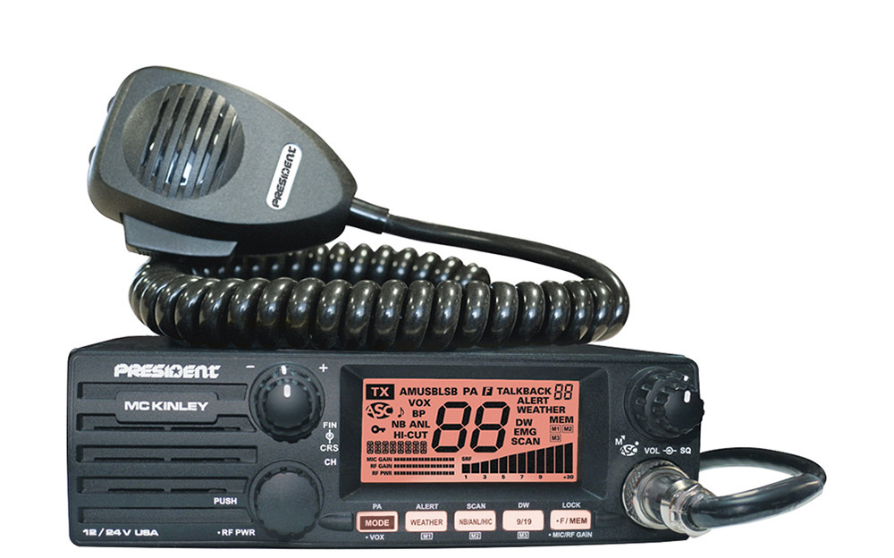President McKinley CB Radio w SSB Mode and Front Mount Spkr